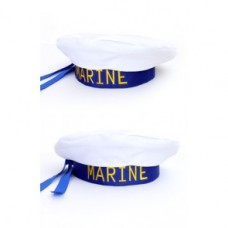 Matrozenbaret wit/blauw
