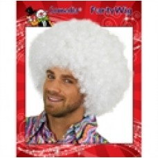 Afro super pruik wit