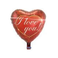 Folieballon hart rood I Love You  (met helium)