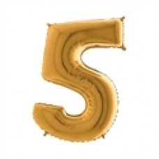 Cijfer folieballon 5 goud