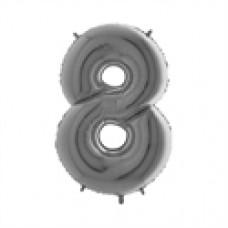 Cijfer folieballon 8 zilver