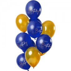 Ballonnen 'Happy Birthday'  Elegant True Blue
