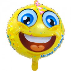 Folieballon Emoticon Happy Birthday (met helium)