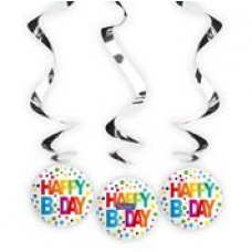 Rainbow Dots spiraal hangdecoratie Happy Birthday