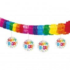 HAPPY BIRTHDAY EN STIPPEN SLINGER MET HANGDECORATIE