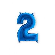 Cijfer folieballon 2 blauw 35 cm