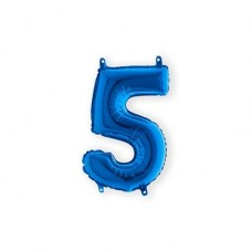Cijfer folieballon 5  blauw 35 cm