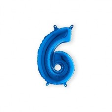 Cijfer folieballon 6 blauw 35 cm