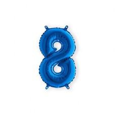 Cijfer folieballon 8 blauw 35 cm