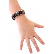 Leren armband met doodshoofden