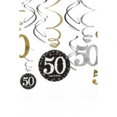 'SPARKLING GOLD' HANGDECORATIE SWIRL HAPPY BIRTHDAY 50