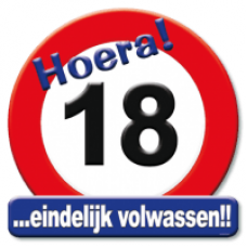 Huldeschild Hoera 18